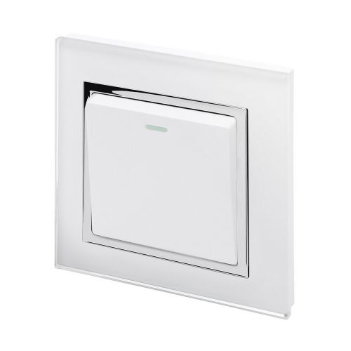 RetroTouch 1 Gang 1 Way 10A Pulse/Retractive Light Switch White Glass CT 00198